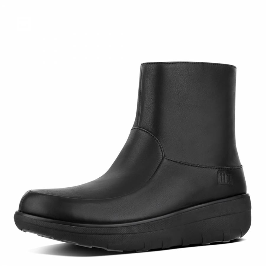 f1d790be15 Black Leather Loaff Shorty Zip Boots - BrandAlley