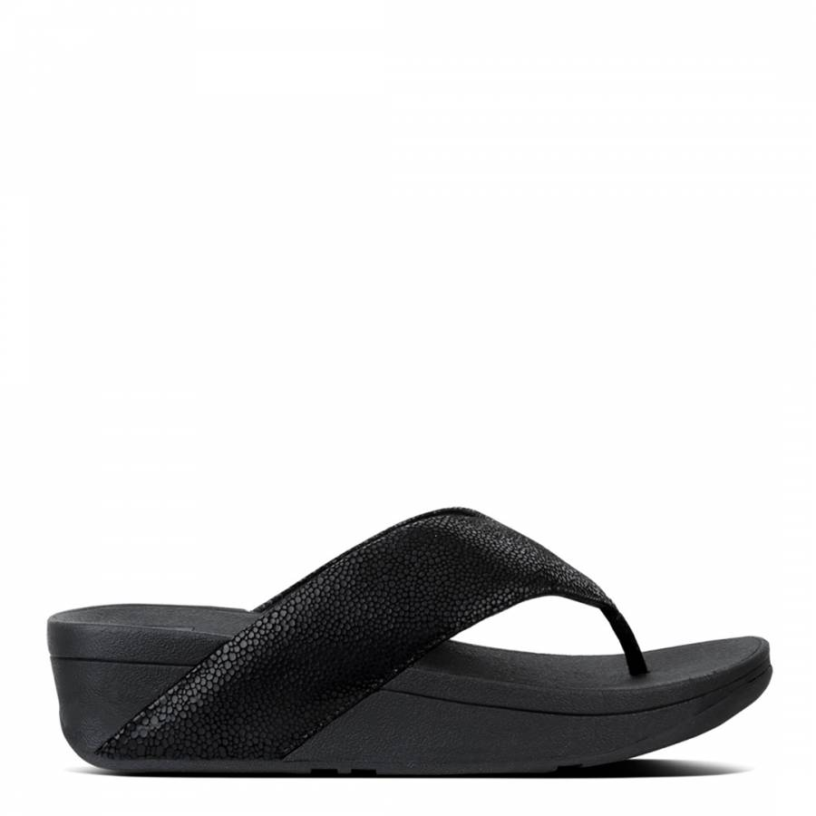 c931f04a01b8d6 Black Leather Swoop Toe Thong Sandals - BrandAlley