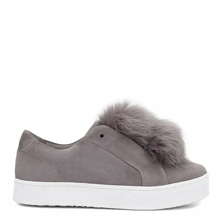 3562e98ac2aff Grey Suede Leya Pom Pom Sneakers - BrandAlley