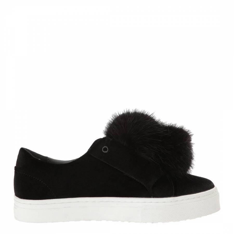 c6ea2db9f Black Velvet Leya Pom Pom Sneakers - BrandAlley