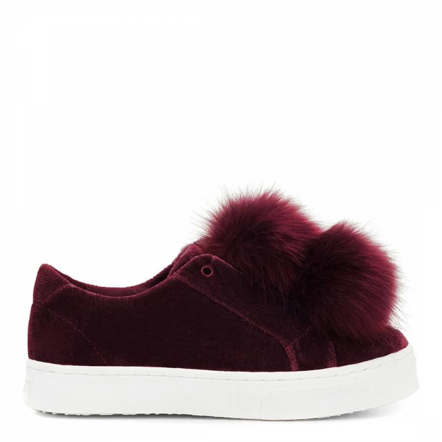 cce4ada54700 Port Wine Velvet Leya Pom Pom Sneakers - BrandAlley