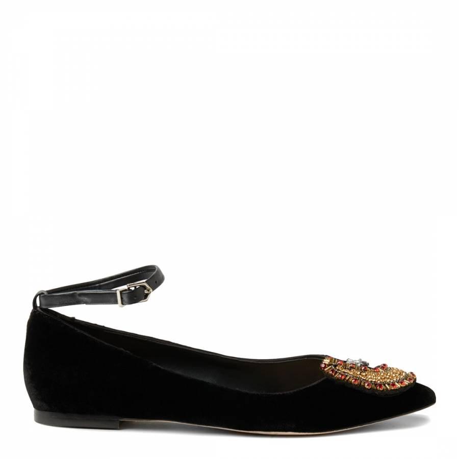 d10779329 Black Velvet Rexley Embellished Flat - BrandAlley