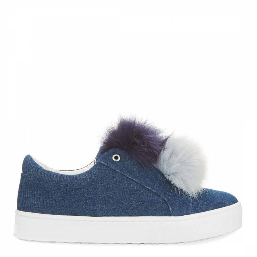 7f37e87a8 Blue Jean Denim Leya Pom Pom Sneakers - BrandAlley