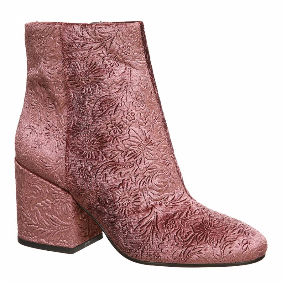 08486a1a83a71b Mauve Pink Velvet Embossed Taye Ankle Bootie - BrandAlley