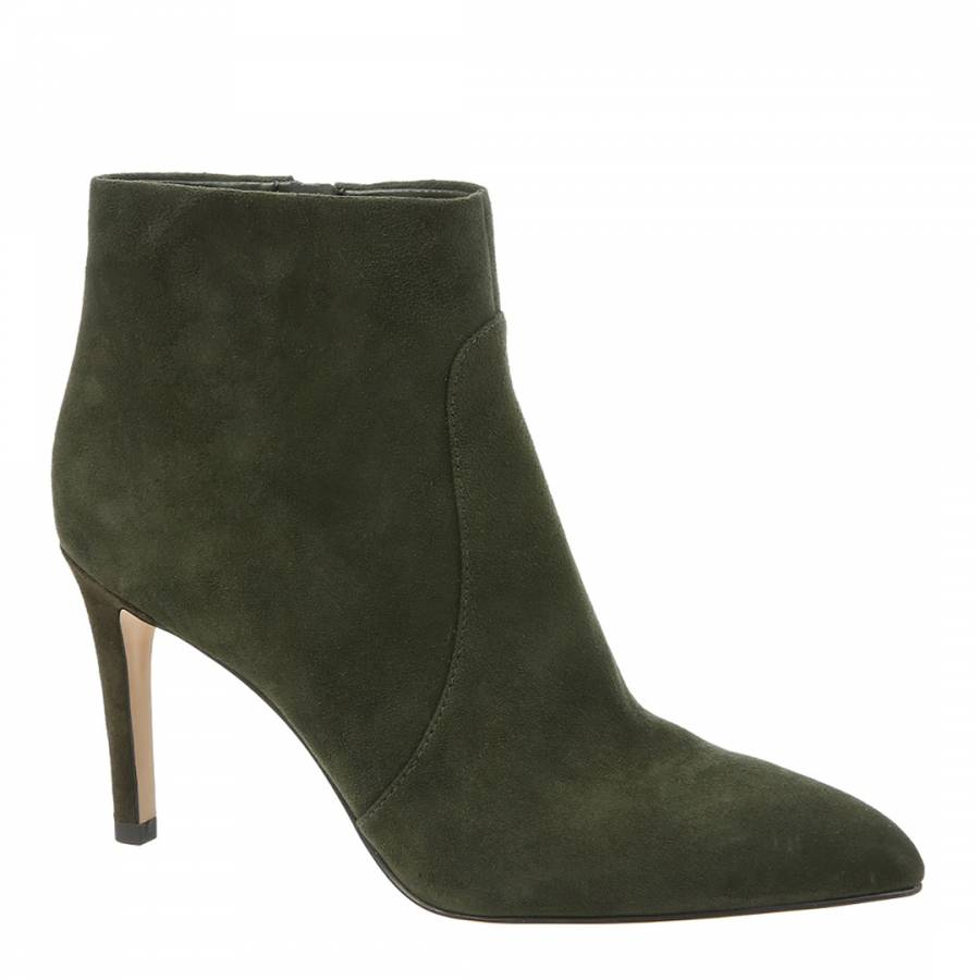 89b656bfb150 Deep Forest Green Suede Olette Pointed Toe Bootie - BrandAlley