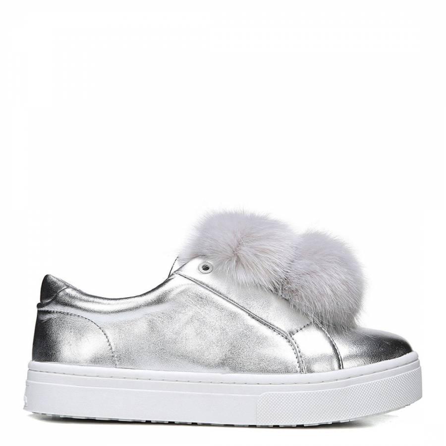 30133408d83da3 Silver Soft Metallic Leather Leya Pom Pom Sneakers - BrandAlley