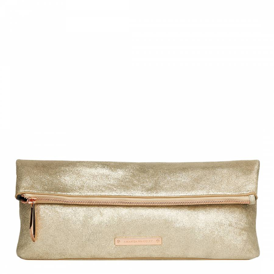 Pale Gold Leather The Hoffman Clutch Bag BrandAlley