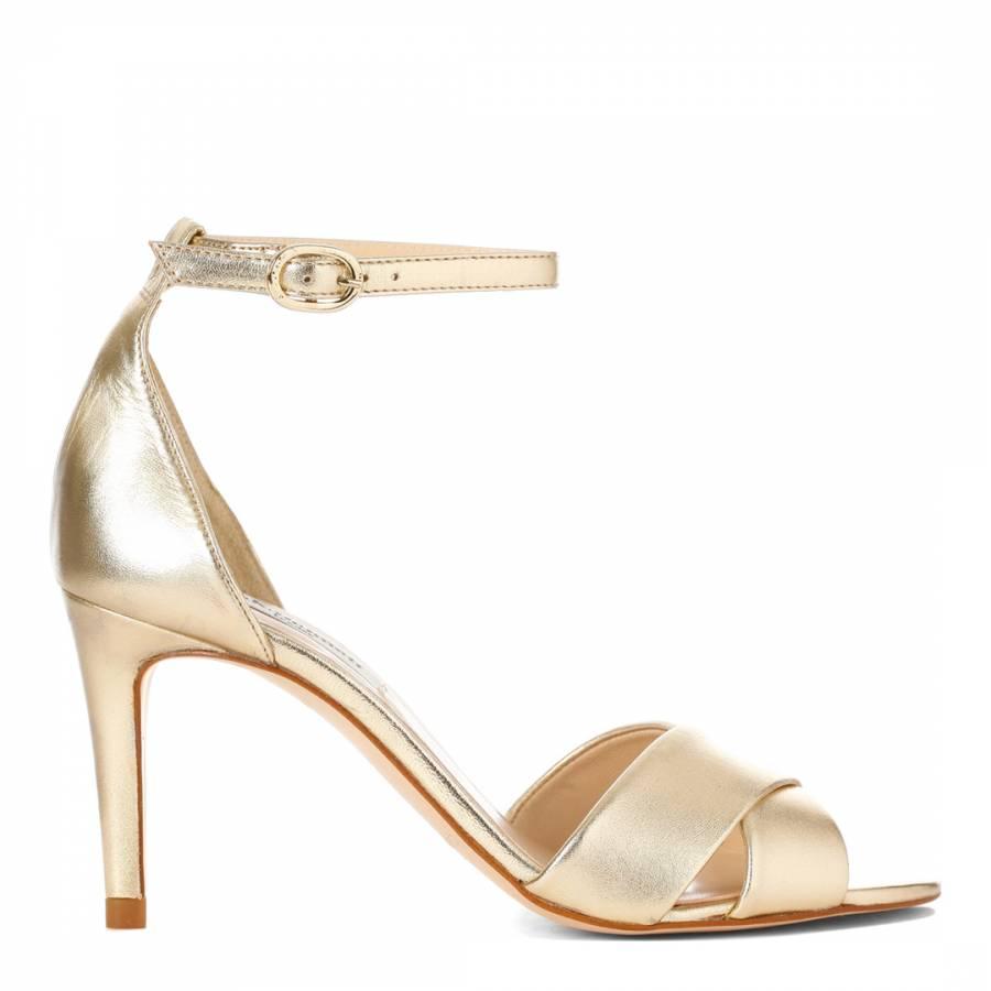 L K Bennett Metallic Gold Leather Osanda Cross Front Sandals