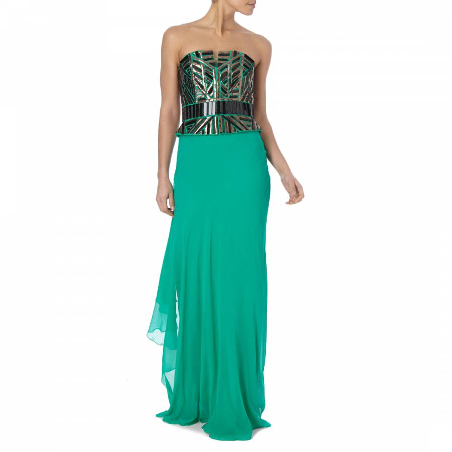 Emerald Beaded Embellishment Long Dress - BrandAlley