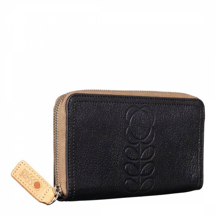Black Flower Stem Embossed Leather Big Zip Wallet - BrandAlley
