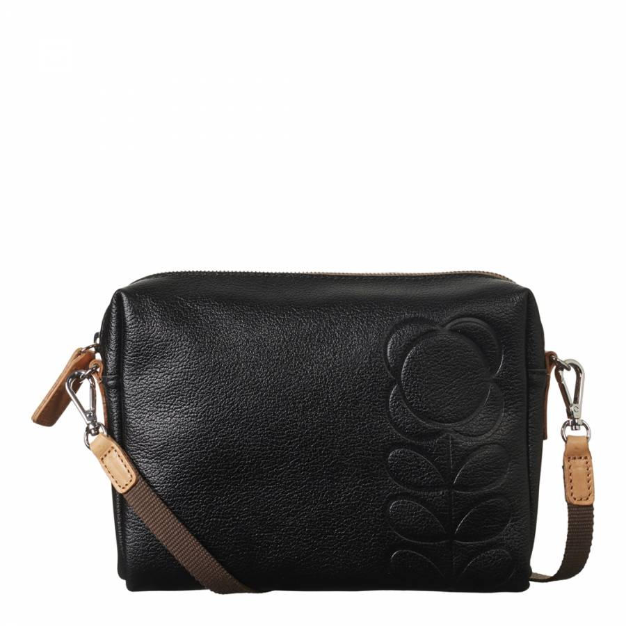 a3c8bc5002a3 Black Flower Stem Embossed Leather Small Cross Body Bag - BrandAlley
