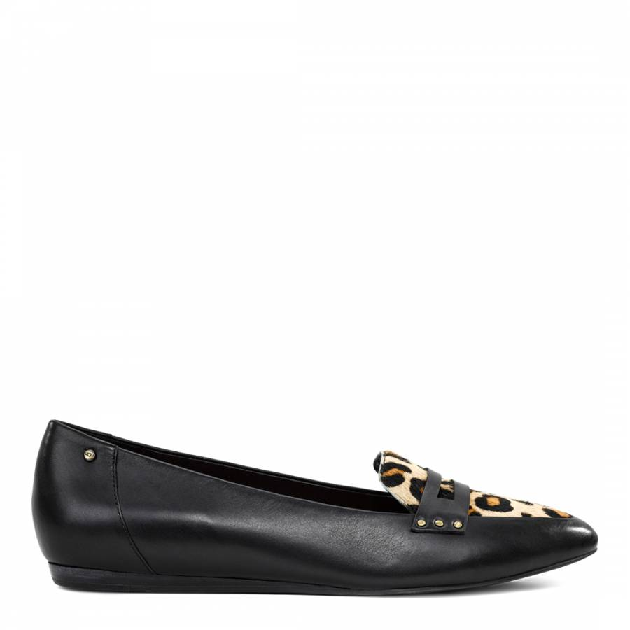 7b29b002d12 Black And Leopard Leather Coty Penny Loafer - BrandAlley