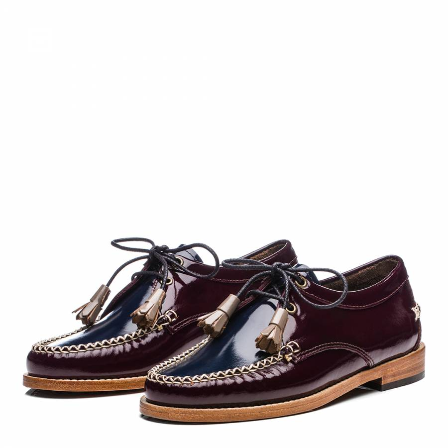 aec0b9a66bf Ladies Bordo   Navy Patent Leather Evie Loafer - BrandAlley