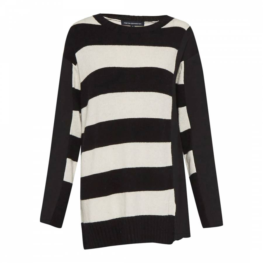 dcb4856bee0 French Connection Black/White Ollie Striped Knit Crew Neck Jumper