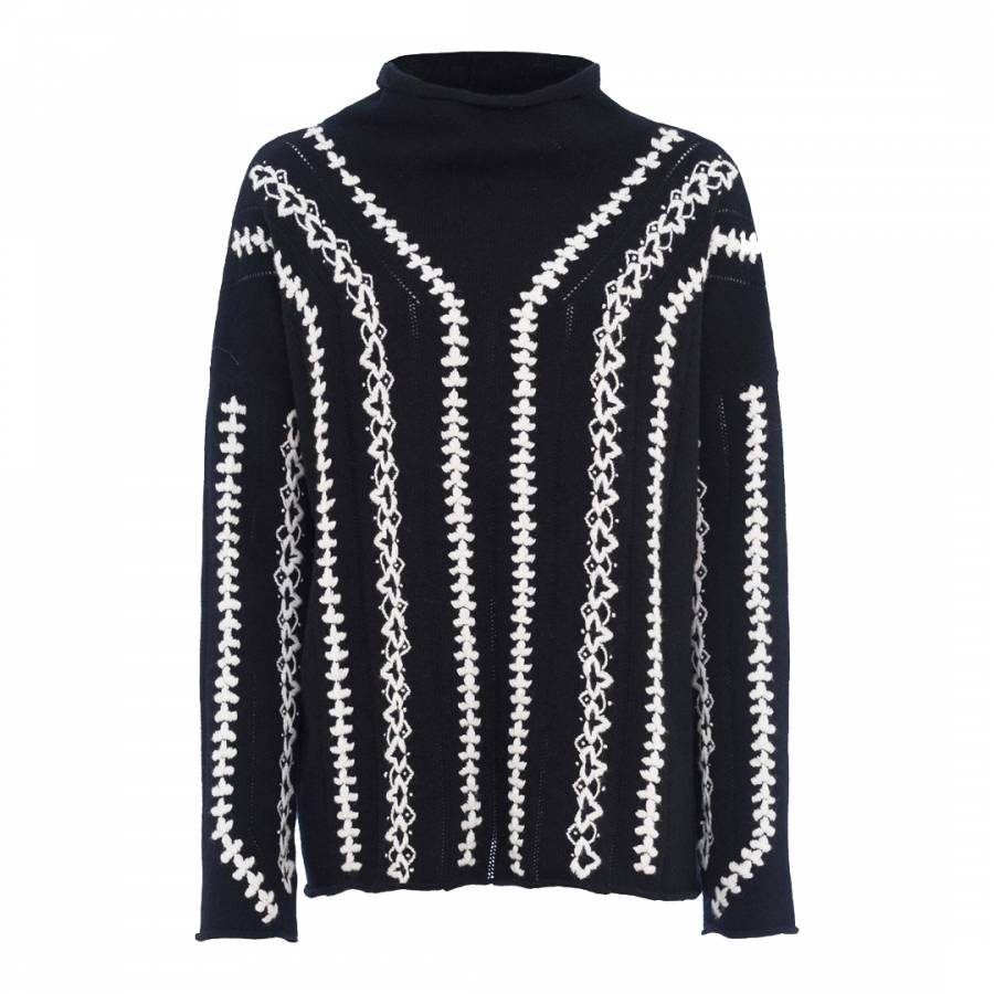 da658b0f45a French Connection Black/White Ella Embroidered Wool Blend Jumper