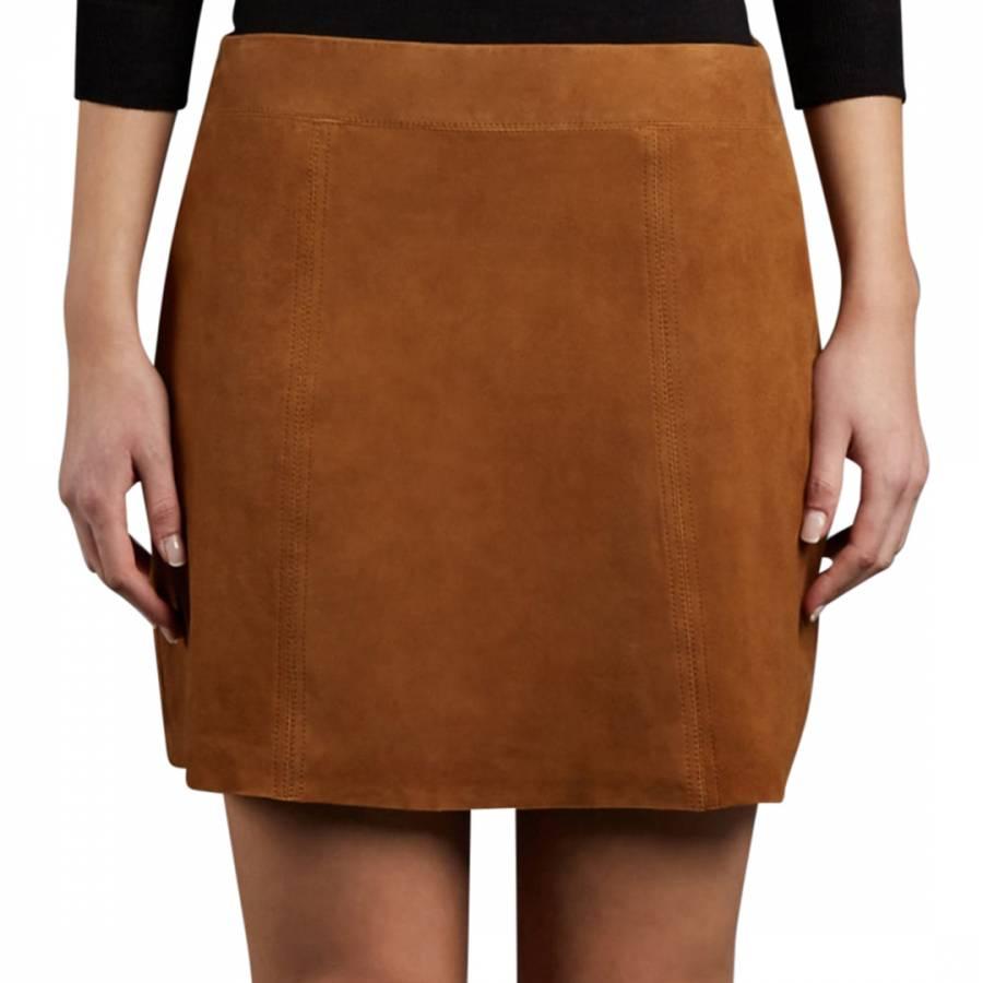 8dd6fb22c Dark Tan Suede Flore Mini Skirt - BrandAlley