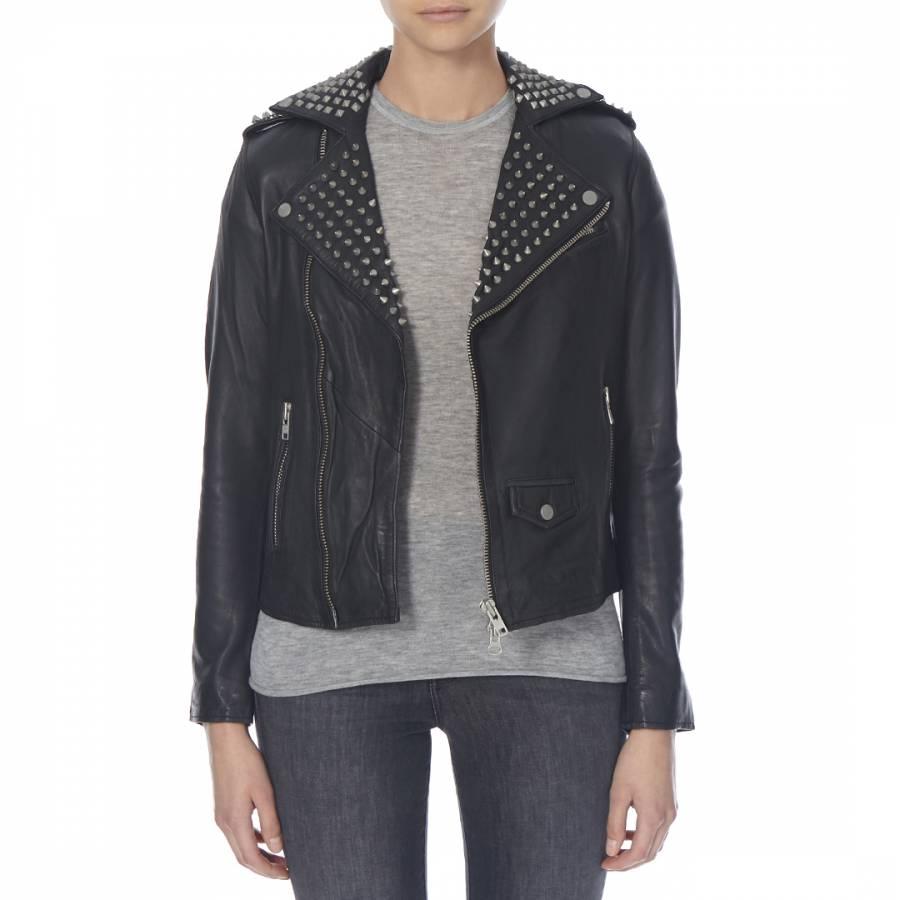 29fd209565f7 Black Leather Voisin Studded Long Biker Jacket - BrandAlley