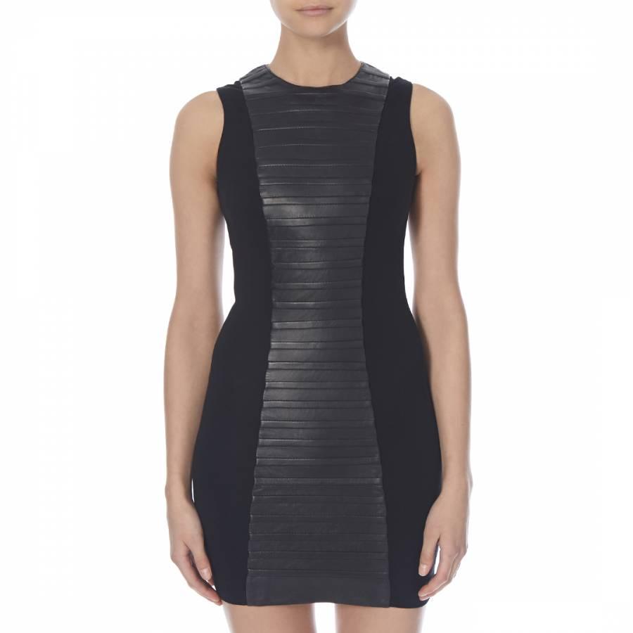 624259f80fe24d Black Leather Sleeveless Bodycon Dress - BrandAlley