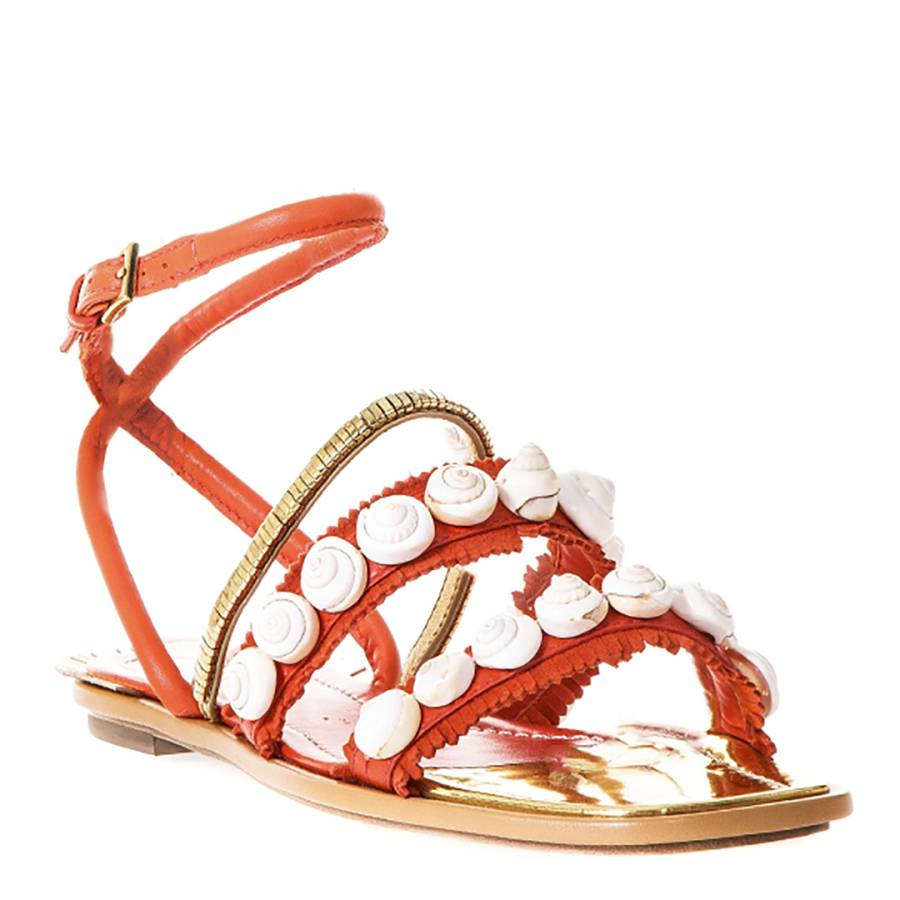 88ddea96605490 Samba Orange Gold Leather Sinclair Embellished Sandals - BrandAlley