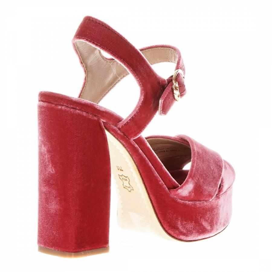 Jaipur Pink Velvet Loretta Platform Sandals Brandalley