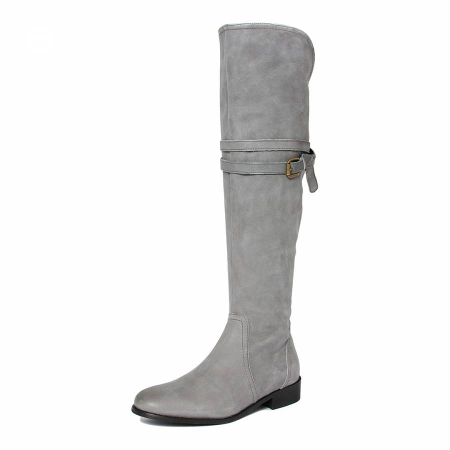 0c7aaade160 Grey Distressed Effect Leather Over The Knee Boots With Buckle ...
