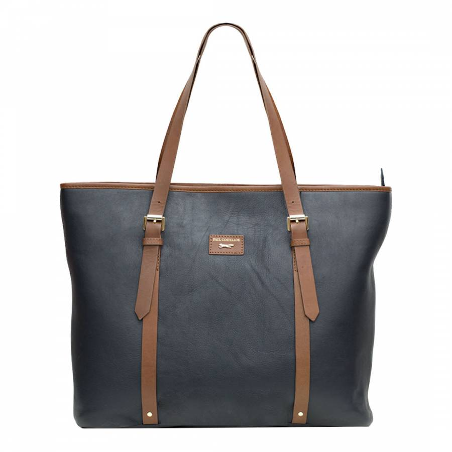 e8d6f52b6d04 Paul Costelloe Navy Tan Signage Zip Tote Leather Bag