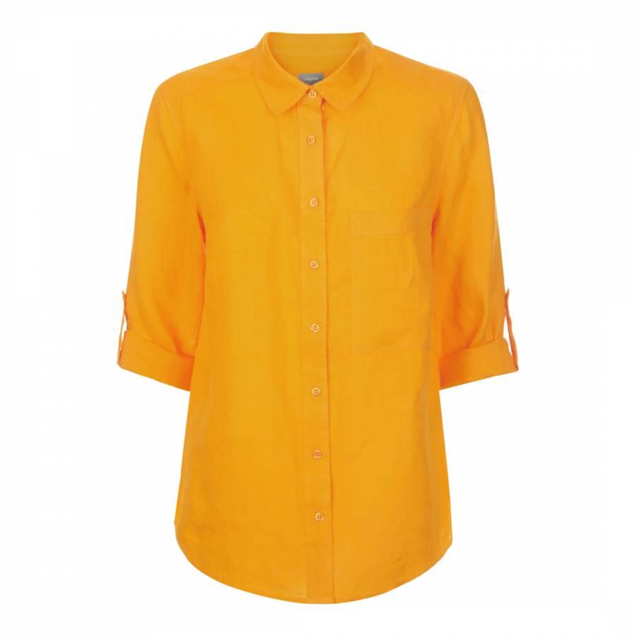 6609eed0e11fb3 Orange Roll Sleeve Linen Shirt - BrandAlley