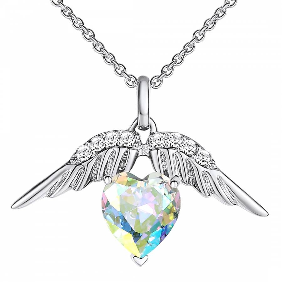 Lilly & Chloe Silver And White Wings/Heart Crystal Elements Swarovski  Necklace