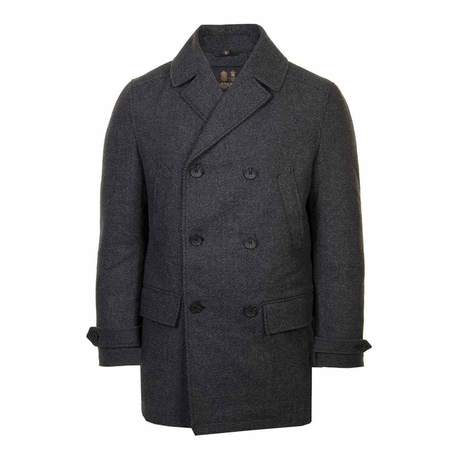 Grey Double Breasted Wool Blend Pea Coat Brandalley