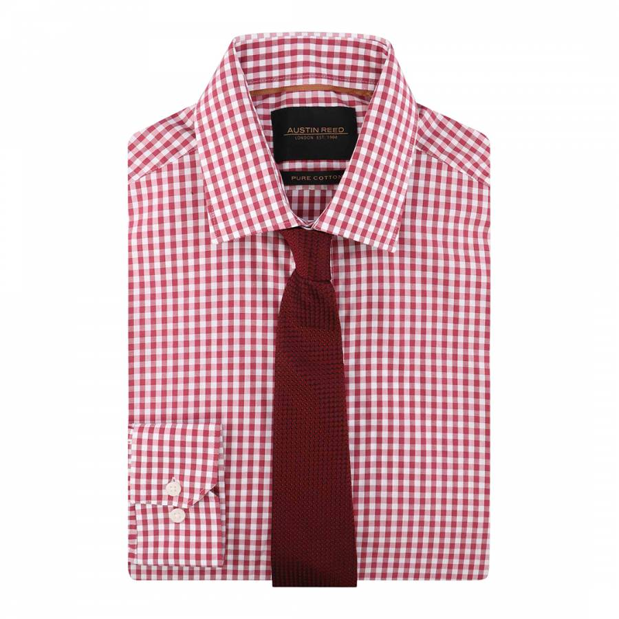 Red Gingham Tailored Fit Cotton Shirt Brandalley