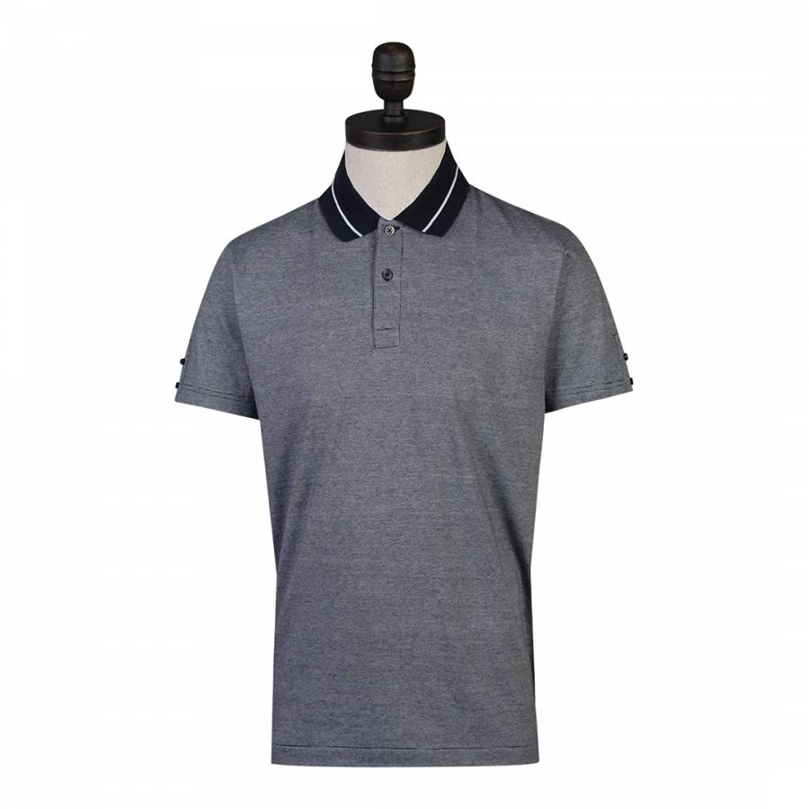 Grey Fine Stripe Cotton Polo Shirt Brandalley