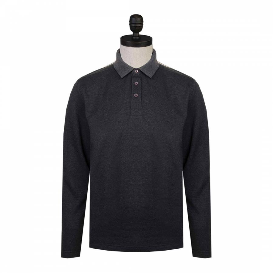 Charcoal Herringbone Cotton Blend Polo Shirt Brandalley
