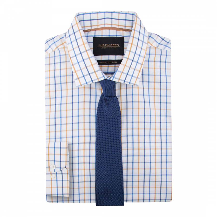Yellow Blue Check Regular Fit Cotton Shirt Brandalley