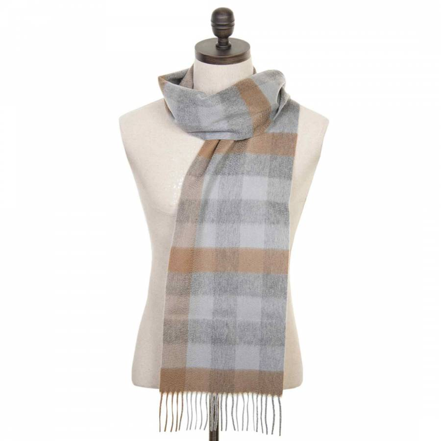 Tan Check Cashmere Scarf Brandalley