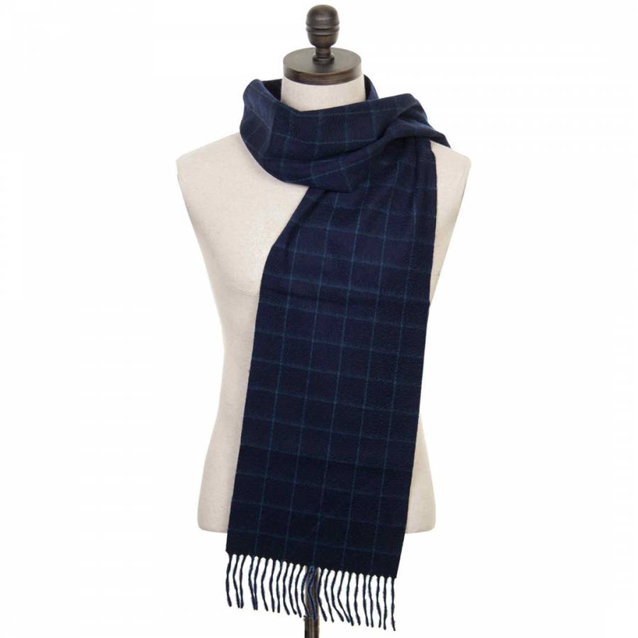 Navy Check Cashmere Scarf Brandalley