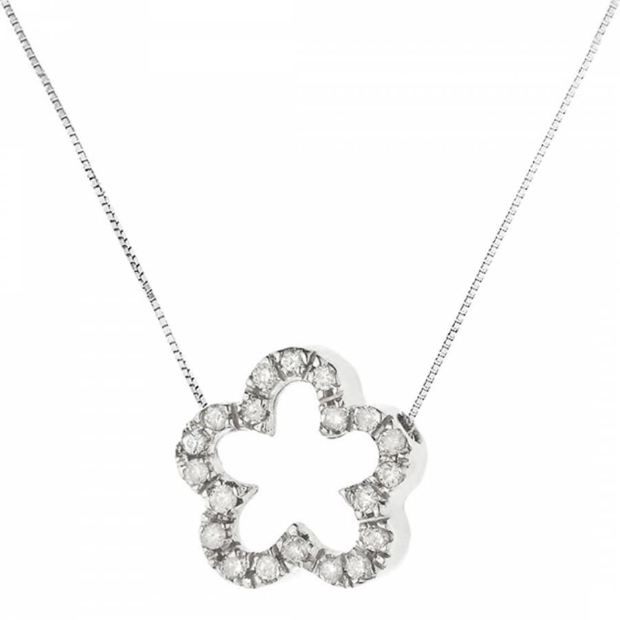 Image of Silver Diamond Flower Pendant Necklace 0.08Cts