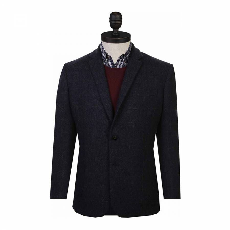 Navy Tweed Check Wool Jacket Brandalley