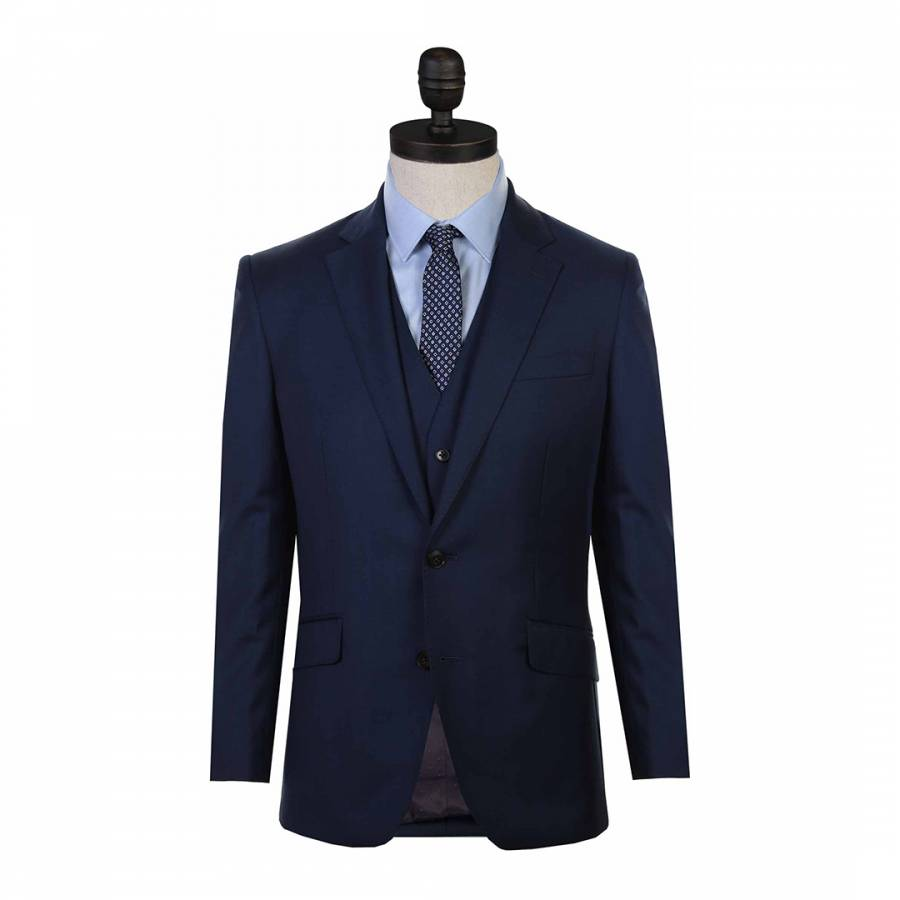 Navy Sharkskin Regular Fit Wool Suit Jacket Brandalley