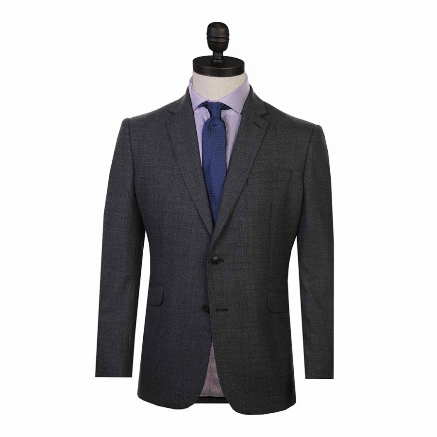 Charcoal Semi Plaid Regular Fit Wool Blend Suit Jacket Brandalley