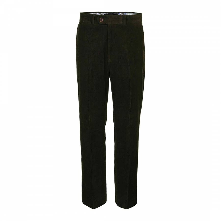 Dark Green Corduroy Cotton Blend Trousers Brandalley