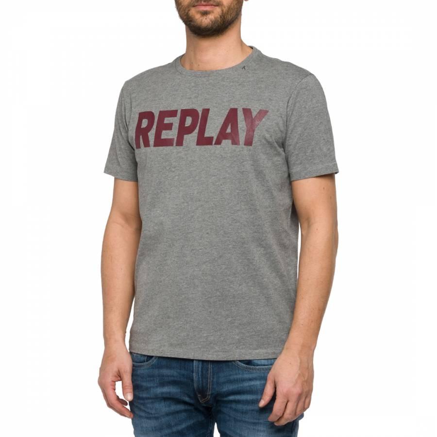 86b0f096 Men's Grey Replay Logo Blend T-Shirt - BrandAlley