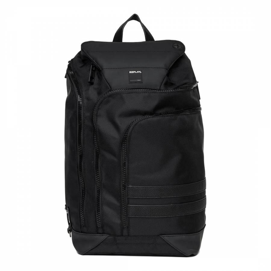 Men s Black Nylon Canvas Backpack - BrandAlley 5c418da925f3d