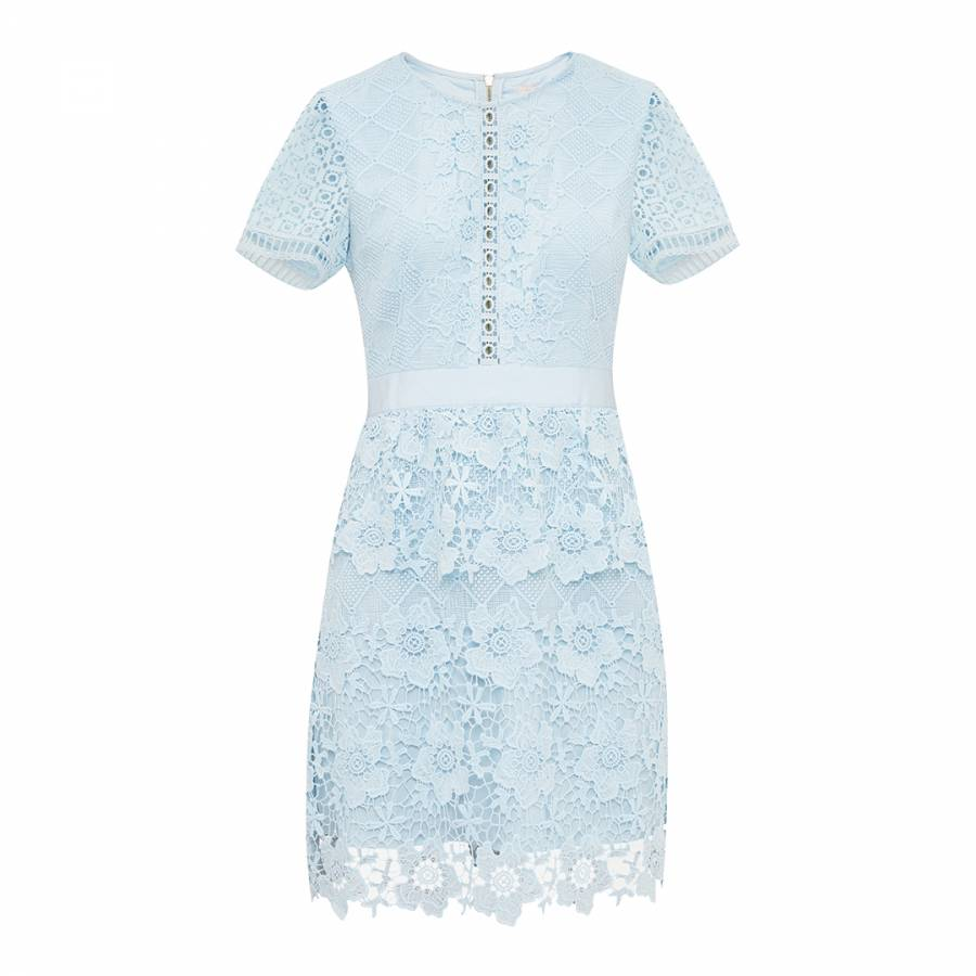 Baby Blue Dixa Layered Lace Skater Dress Brandalley
