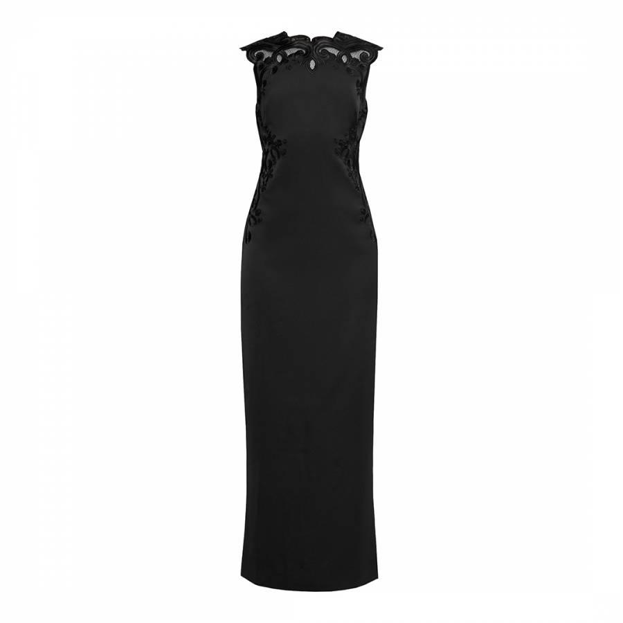 e4f1f4699f1 Black Ellil Embroidered Open Back Maxi Dress - BrandAlley