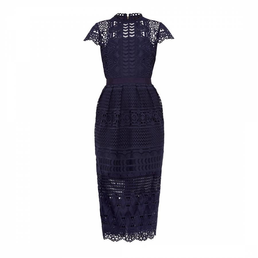 a4b760c7e44 Navy Emelia Lace Mash Up Midi Dress - BrandAlley