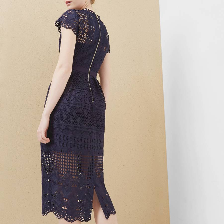 48a8299a5d5 Navy Emelia Lace Mash Up Midi Dress - BrandAlley