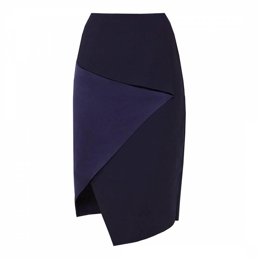 f5a2e714a34473 Navy Tobola Asymmetric Fold Pencil Skirt - BrandAlley