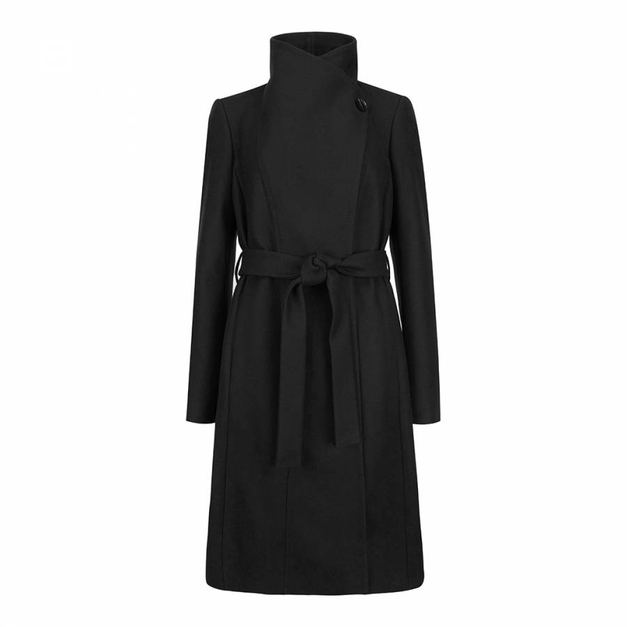 Black Cashmere Blend Lorili Long Wrap Coat Brandalley