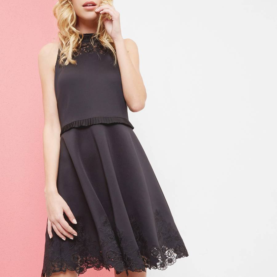 06b6004e4d9 Black Zaffron Embroidered Skater Dress - BrandAlley