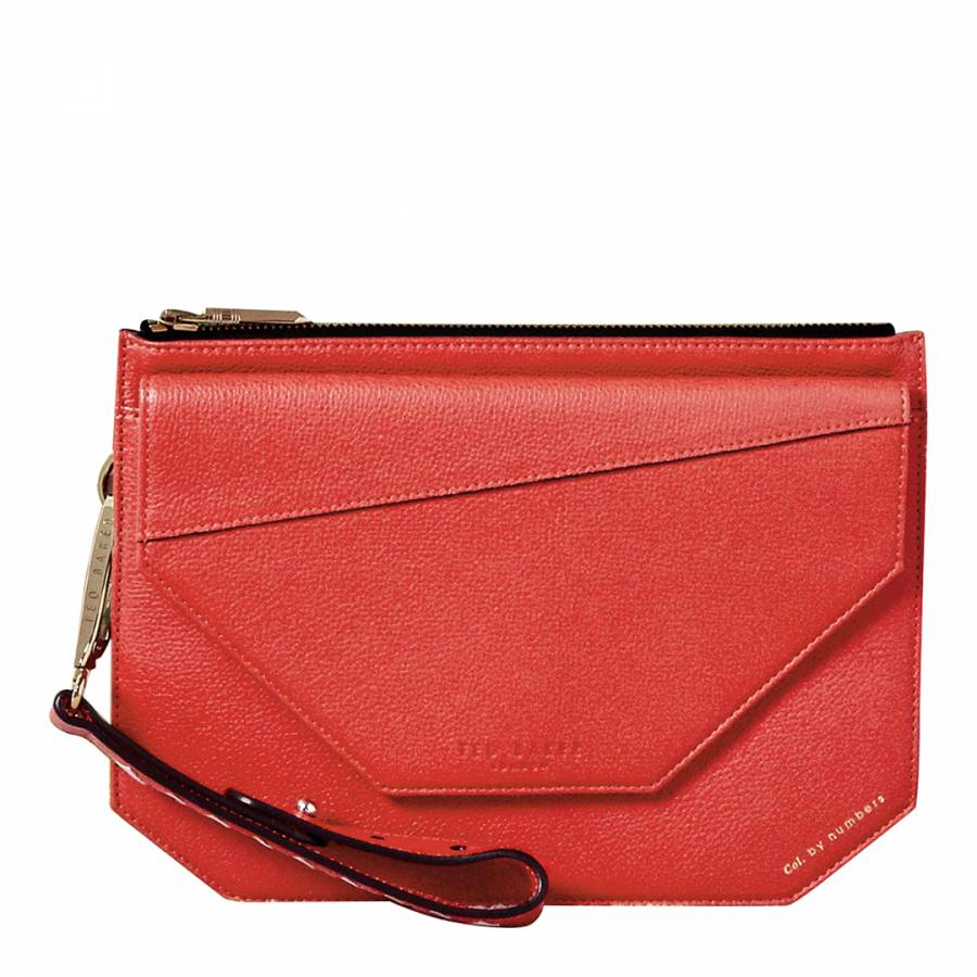 358e5788e60 Red Cassis Flap Detail Leather Clutch Bag - BrandAlley